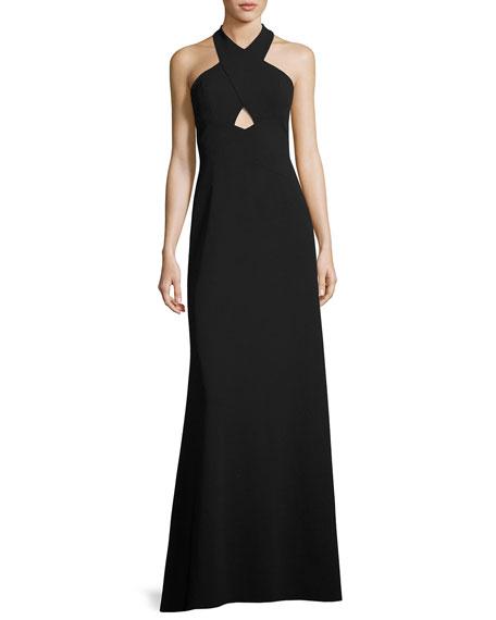 Aidan by Aidan Mattox Sleeveless Scuba A-Line Gown,