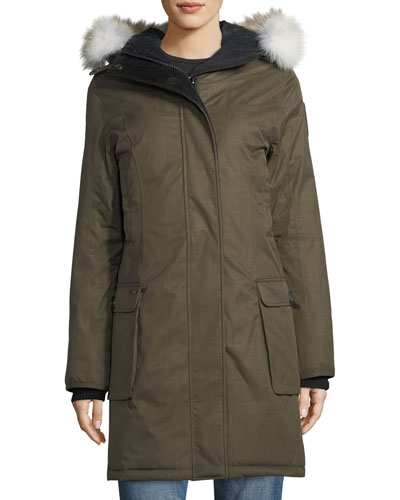 Abby Knee-Length Coat with Fur Hood