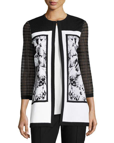 Misook Mixed-Detail Long Jacket