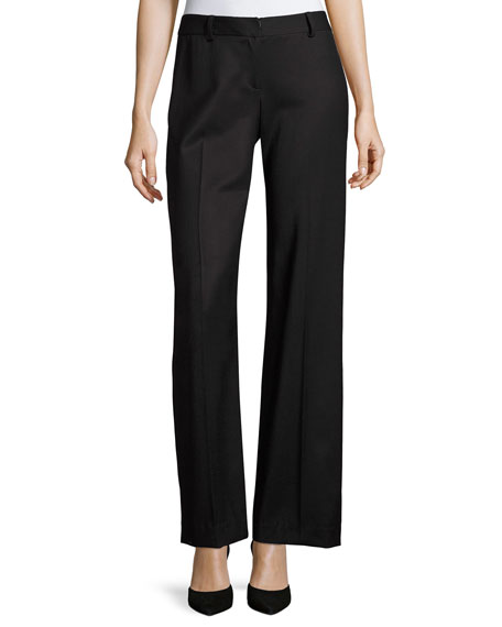 Milly Italian Wool Gabardine Trousers, Black and Matching