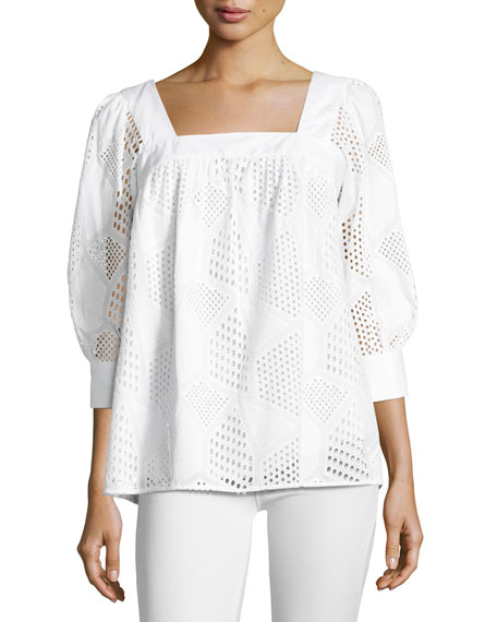 Milly Embroidered Cotton Eyelet Square-Neck Top, White