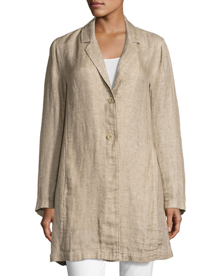 Notched-Collar Organic Linen Long Jacket, Natural