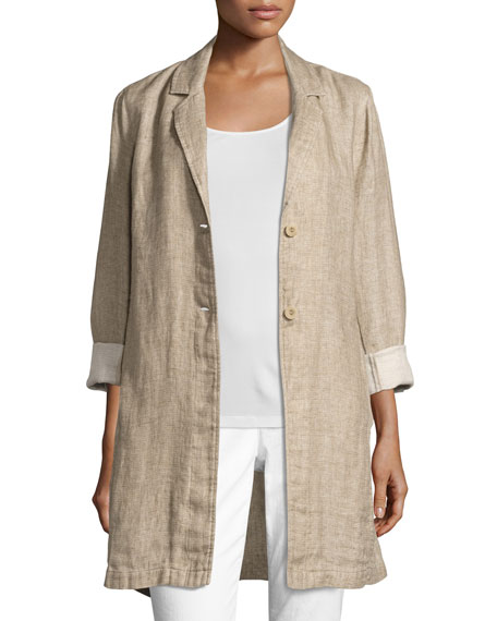 Eileen Fisher Notched-Collar Organic Linen Long Jacket, Natural