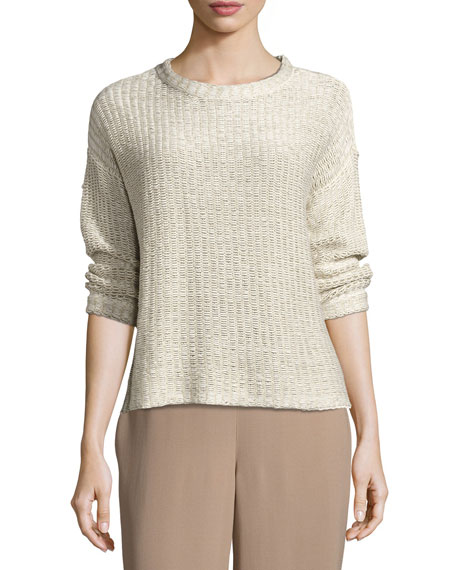 Eileen Fisher 3/4-Sleeve Organic Textured Tape Box Top,