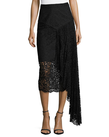 Milly Lace Pencil Midi Skirt w/ Side Cascade,