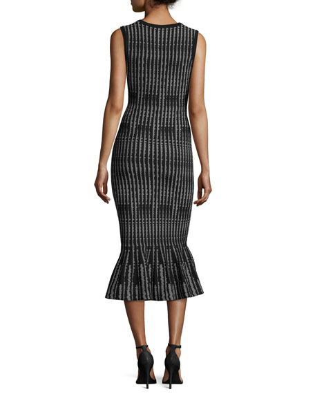 Sleeveless Optical-Print Mermaid Midi Dress, Black/White