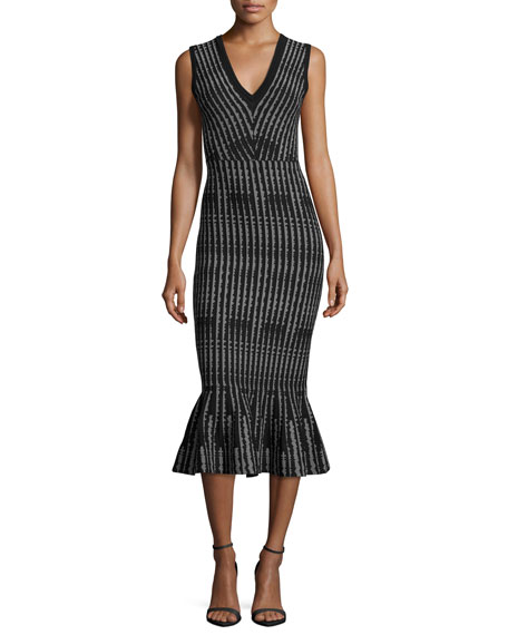 Milly Sleeveless Optical-Print Mermaid Midi Dress, Black/White