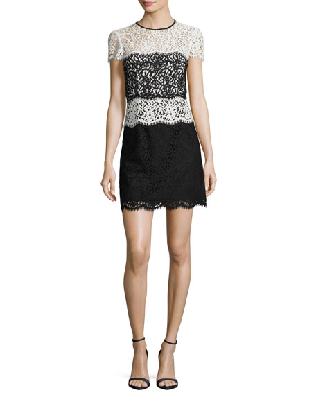 Milly Gabrielle Colorblocked Lace Minidress