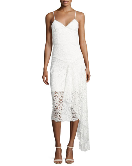 Milly Gisele Lace Midi Dress w/ Side Cascade, White