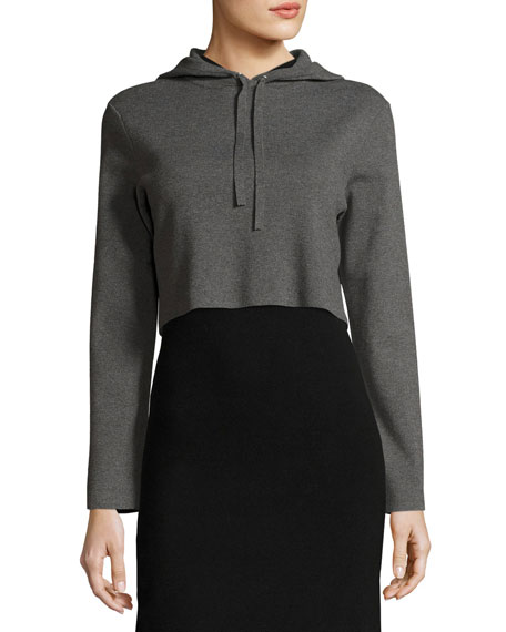 Milly Cropped Hoodie Sweatshirt, Charcoal