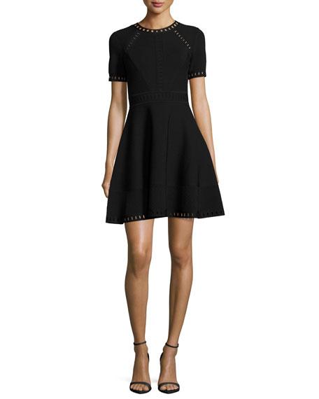 Milly Short-Sleeve Pointelle-Trim Textured Knit Dress, Black