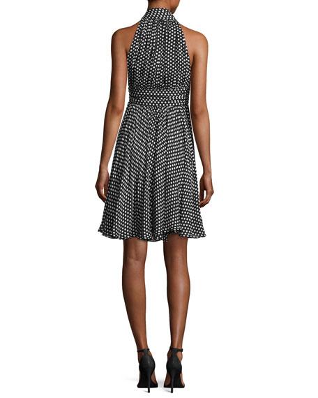 Lydia Tie-Neck Dot-Print Silk Georgette Dress, Black