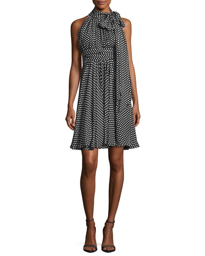 Lydia Tie-Neck Dot-Print Silk Georgette Dress, Black