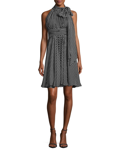 Milly Lydia Tie-Neck Dot-Print Silk Georgette Dress, Black