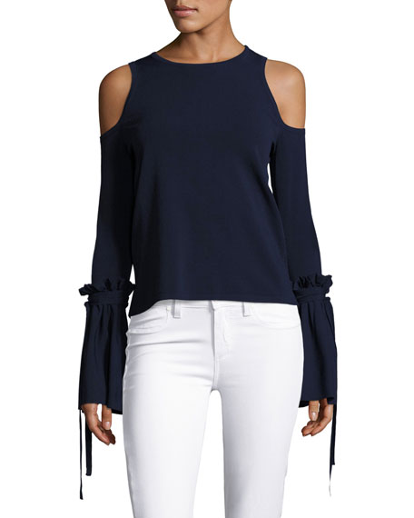 Milly Cold-Shoulder Tie-Sleeve Knit Top, Midnight