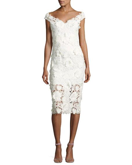Mari Cap-Sleeve 3D Floral Cocktail Dress, White