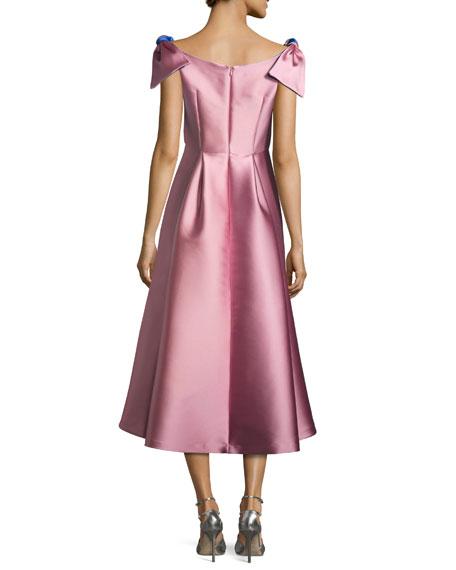 Casey Sleeveless Satin Bateau Cocktail Dress, Pink