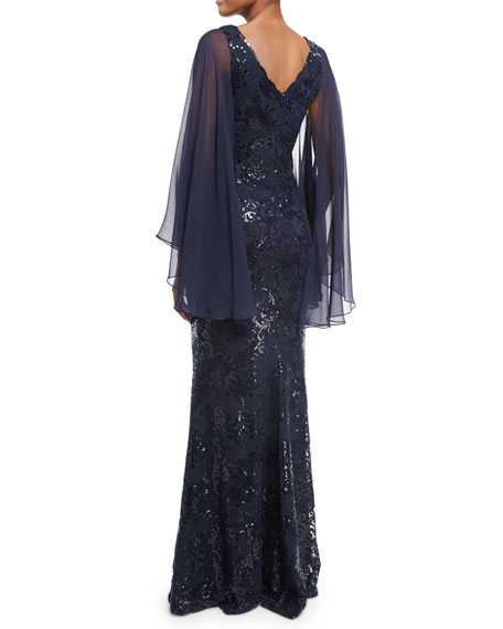 Cape-Sleeve Sequin Leaf Silk Gown, Blue