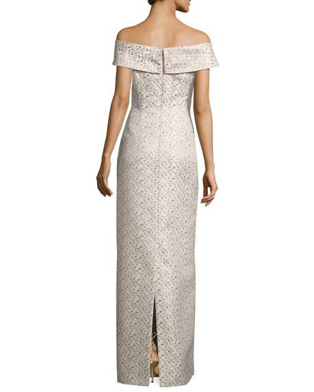 Off-the-Shoulder Geometric Jacquard Column Gown, Multicolor