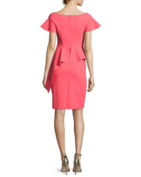 Short-Sleeve Asymmetric Peplum Cocktail Dress, Pink