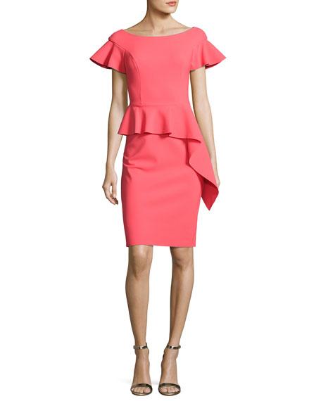 Rickie Freeman for Teri Jon Short-Sleeve Asymmetric Peplum Cocktail Dress, Pink