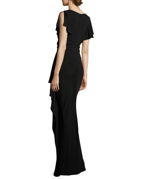 Short-Sleeve Draped Peplum Jersey Gown, Black