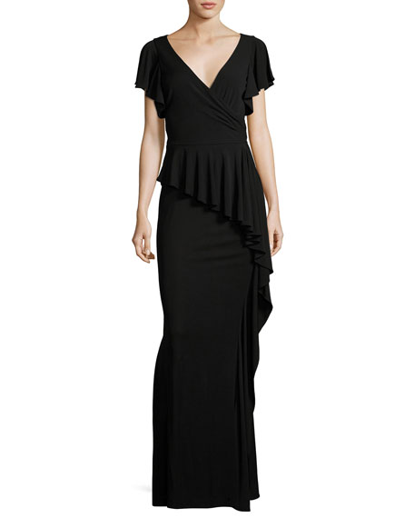 Short-Sleeve Draped Peplum Jersey Gown, Black