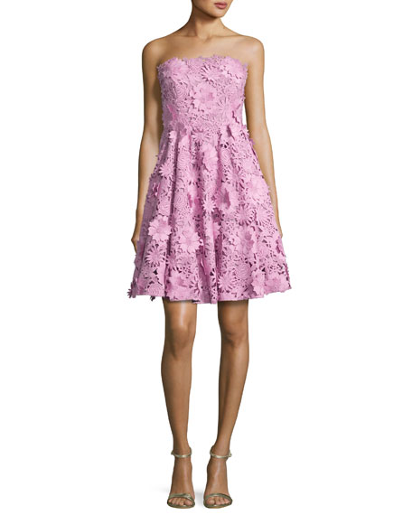 Milly Meg Strapless 3D Floral Cocktail Dress, Pink