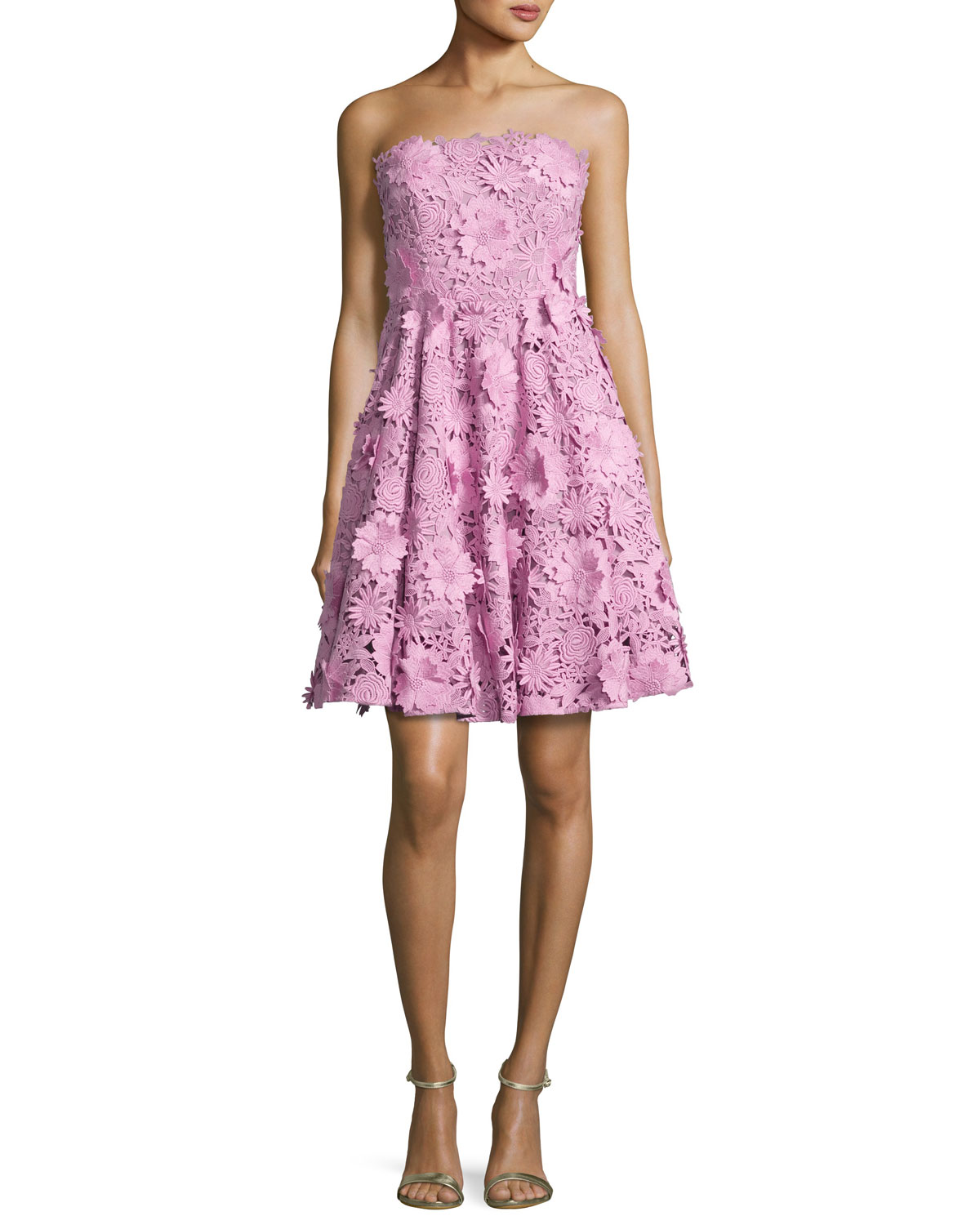 Milly Meg Strapless 3D Floral Cocktail Dress, Pink | Neiman Marcus