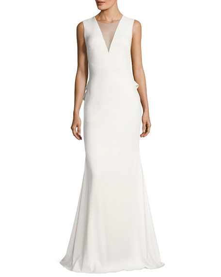 Sleeveless Stretch Crepe Rouleau-Button Gown, Ivory