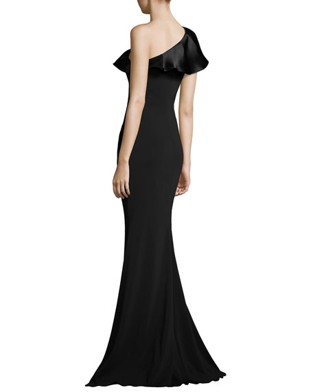 One-Shoulder Ruffle Mermaid Gown, Black