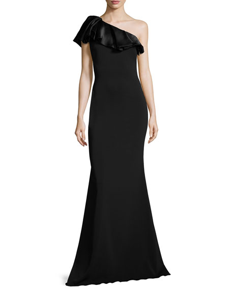 Badgley Mischka One-Shoulder Ruffle Mermaid Gown, Black