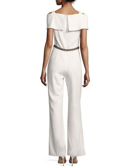 Embellished Cold-Shoulder Jumpsuit, Ivory