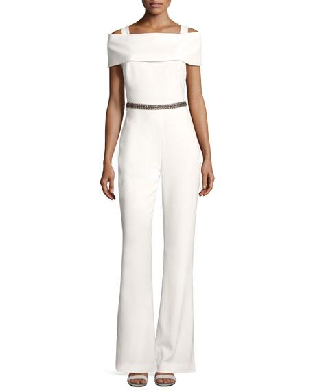 Badgley Mischka Embellished Cold-Shoulder Jumpsuit, Ivory