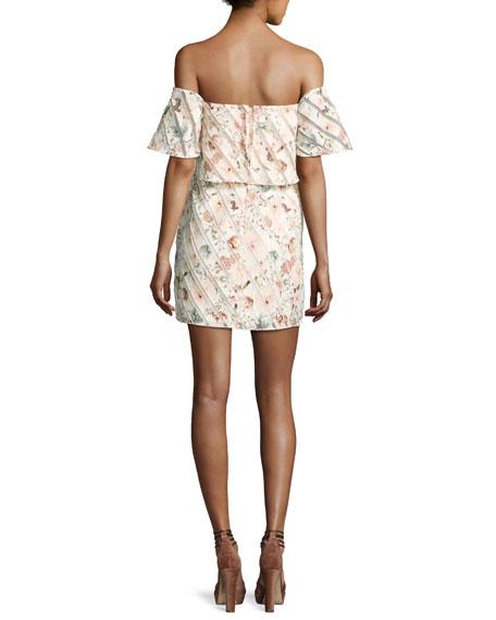 Moss Off-the-Shoulder Striped Mini Dress, Multicolor