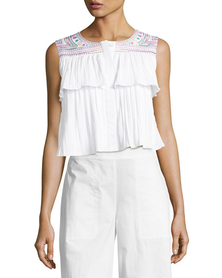Saloni Cleo Embroidered Crop Top, White