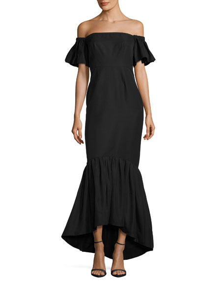 Jill Jill Stuart Off-the-Shoulder Faille Mermaid Gown, Black