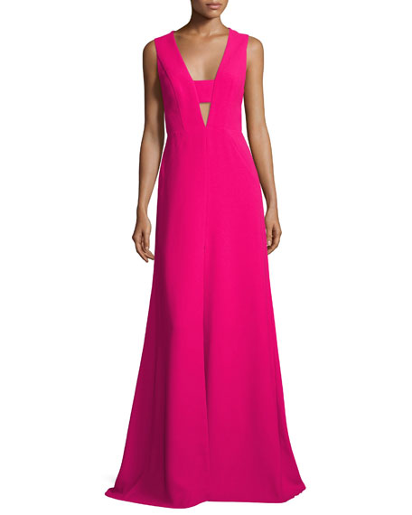 Sleeveless Crepe A-Line Gown, Pink