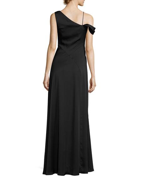 Asymmetric Crepe de Chine Gown, Black