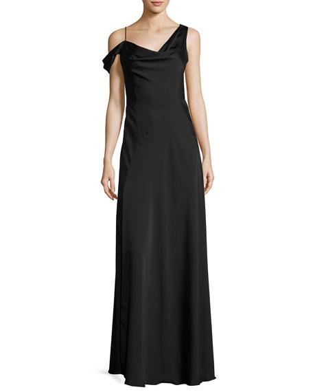 Jill Jill Stuart Asymmetric Crepe de Chine Gown,