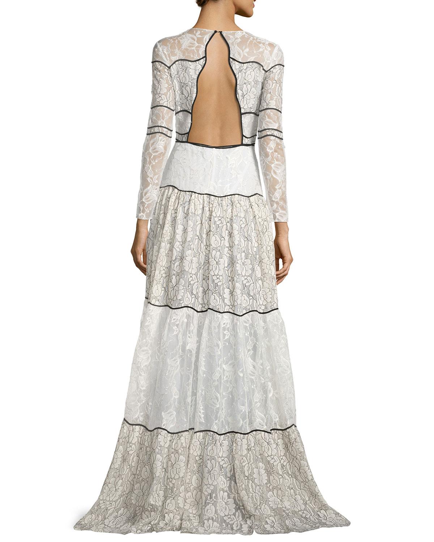 7da761b20700 Sachin & Babi Sara Long-Sleeve Paneled Lace Gown, Ivory | Neiman Marcus