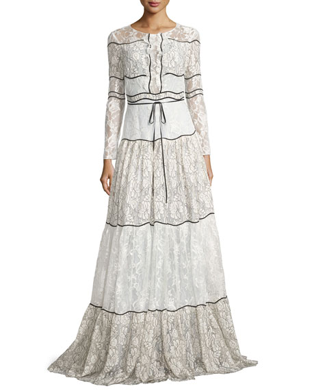 Sara Long-Sleeve Paneled Lace Gown, Ivory
