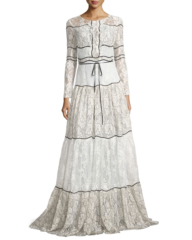 Sachin & Babi Sara Long-Sleeve Paneled Lace Gown, Ivory | Neiman Marcus