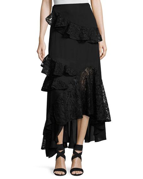 Plie Asymmetric Silk Lace Ruffle Skirt, Jet