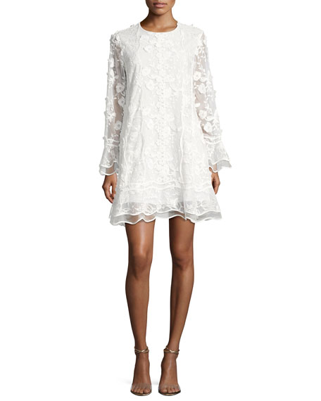 Releve Long-Sleeve Rochelle Lace Cocktail Dress, Ivory