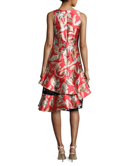 Margot Sleeveless Tiered Asymmetric Cocktail Dress