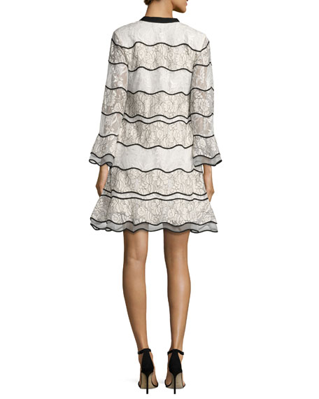 Slipper Long-Sleeve Paneled Lace Cocktail Dress, Ivory