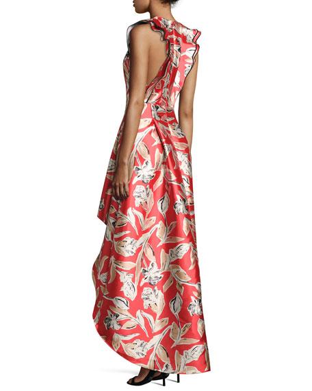 Masha Sleeveless High-Low Cocktail Dress, Goji Berry Red