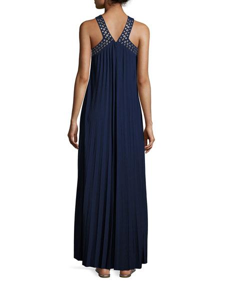 Perma-Pleated Embellished Maxi Dress, Navy