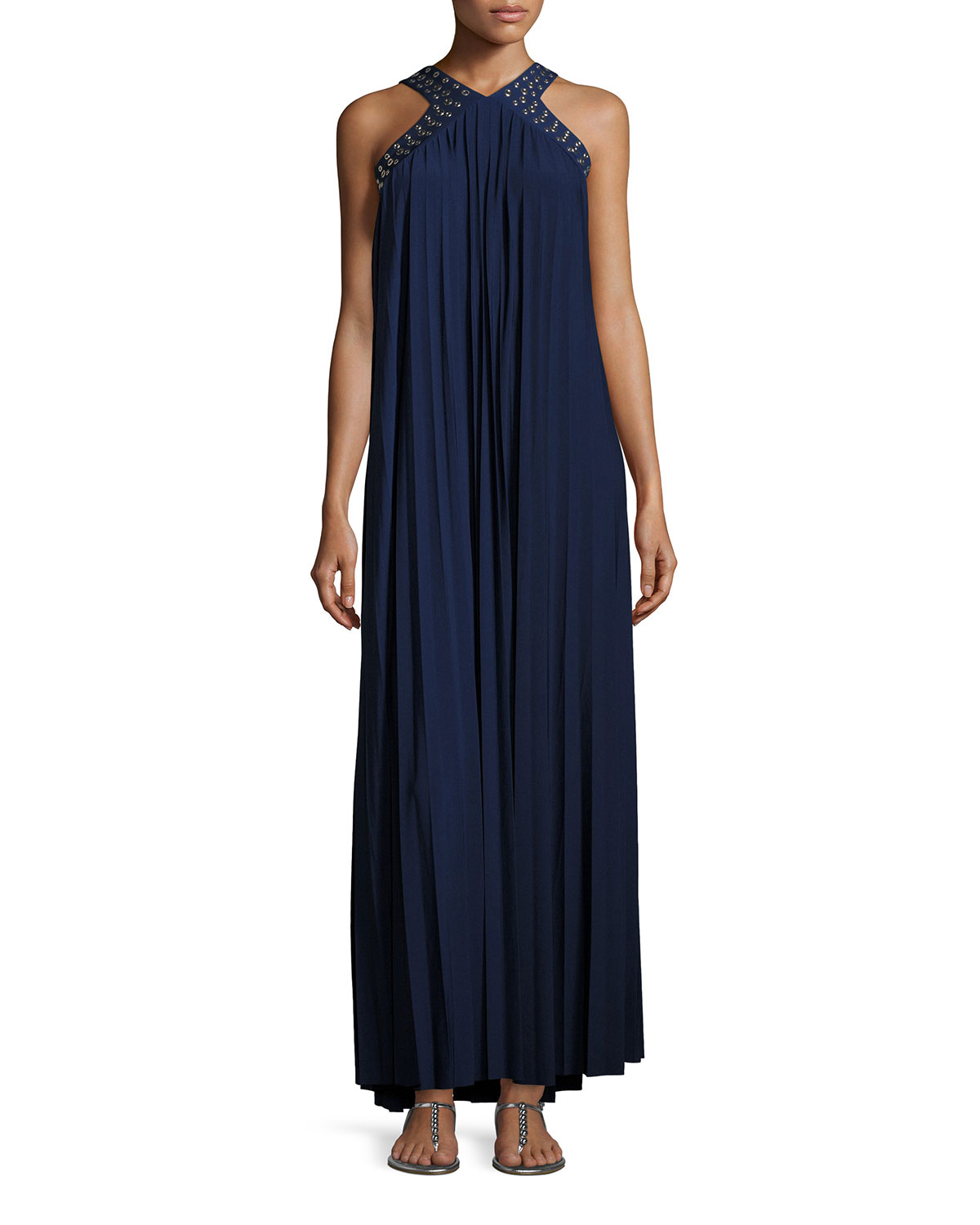 2a11f6f7004 Michael Kors Perma Pleated Embellished Maxi Dress Navy